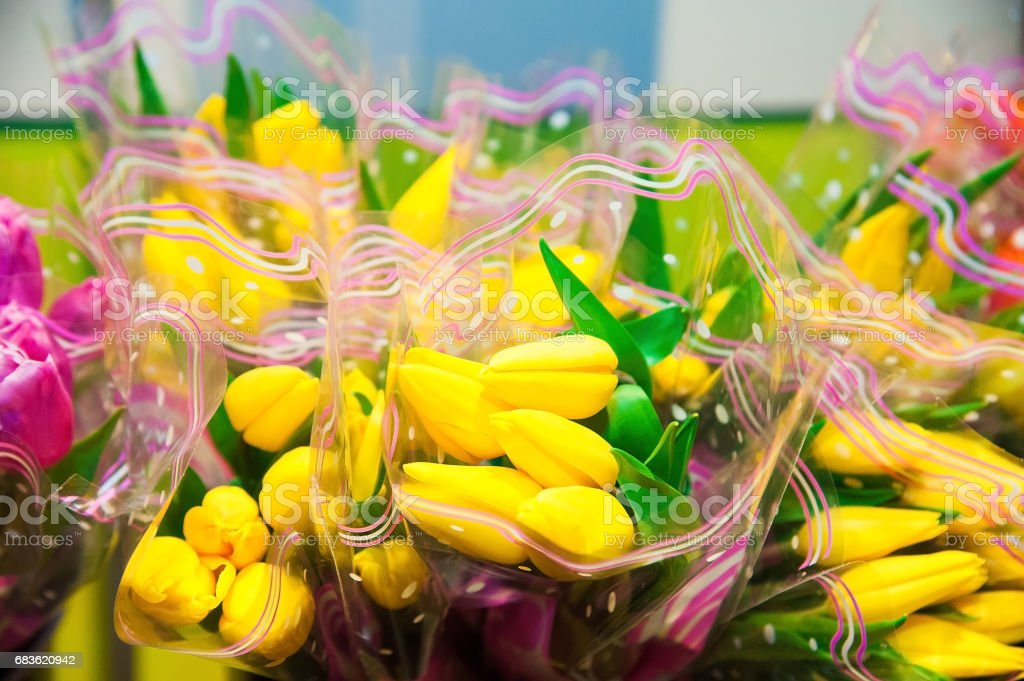 Flowers on sale in a supermarket stock photo