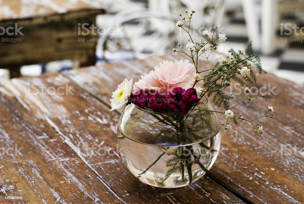 Flowers on Table in Coffee Shop royalty-free stock photo
