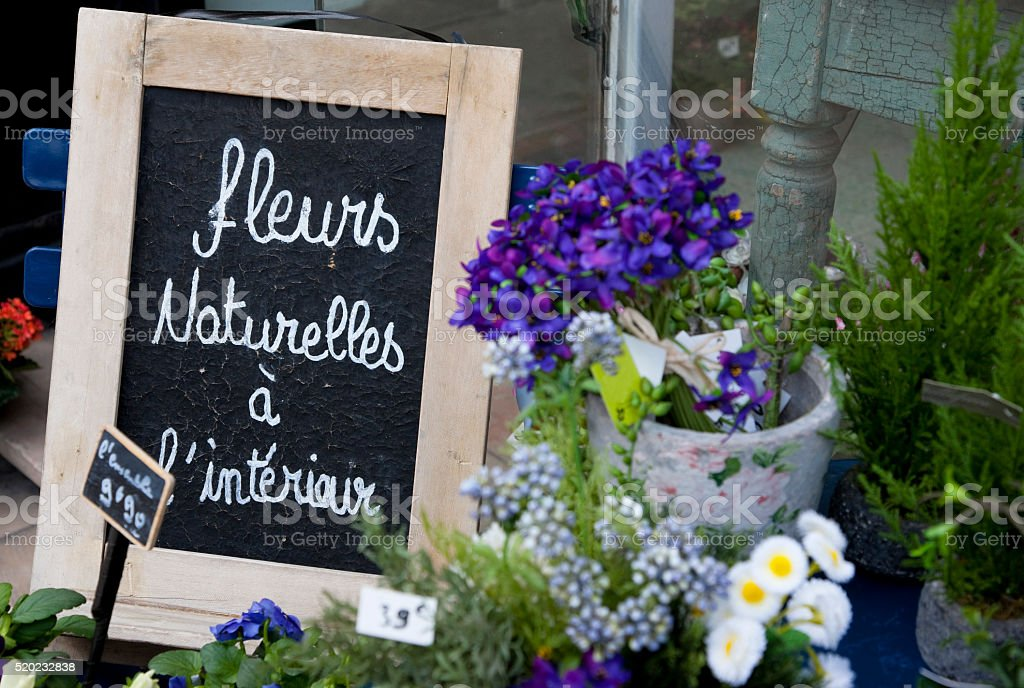 Flowers on the market in Dijon, France stock photo
