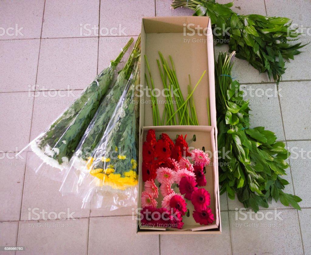 Flowers on tile. stock photo