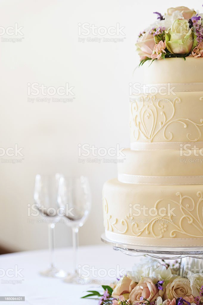 Flowers on Wedding Cake stock photo