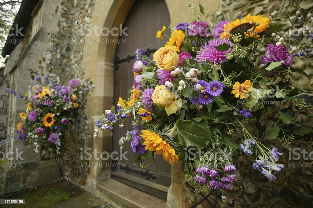 flowers outside church royalty-free stock photo