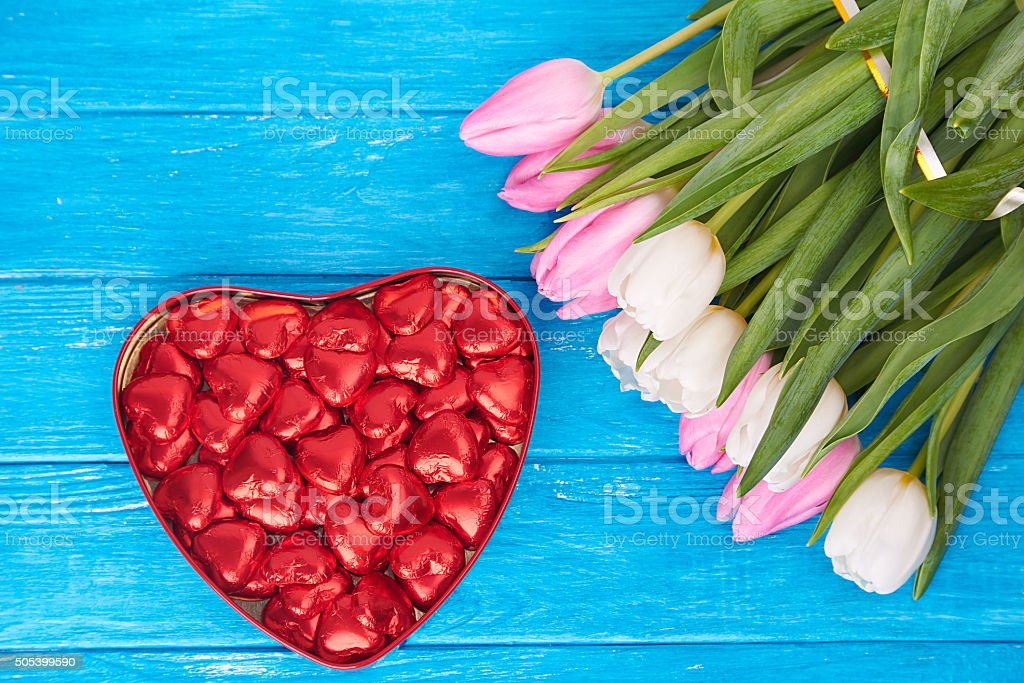 flowers, valentines day and holidays concept stock photo