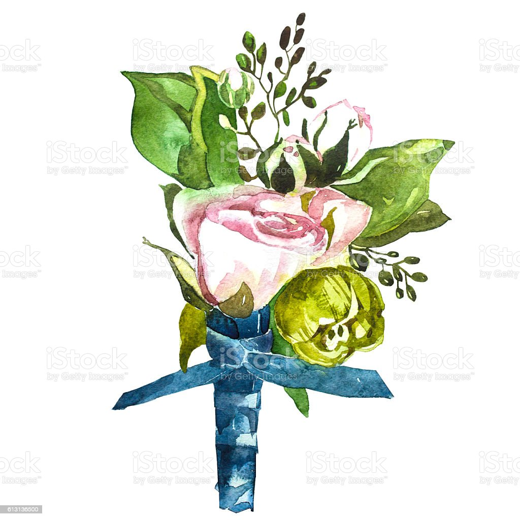 Flowers watercolor  Bouquet and boutonniere . vector art illustration