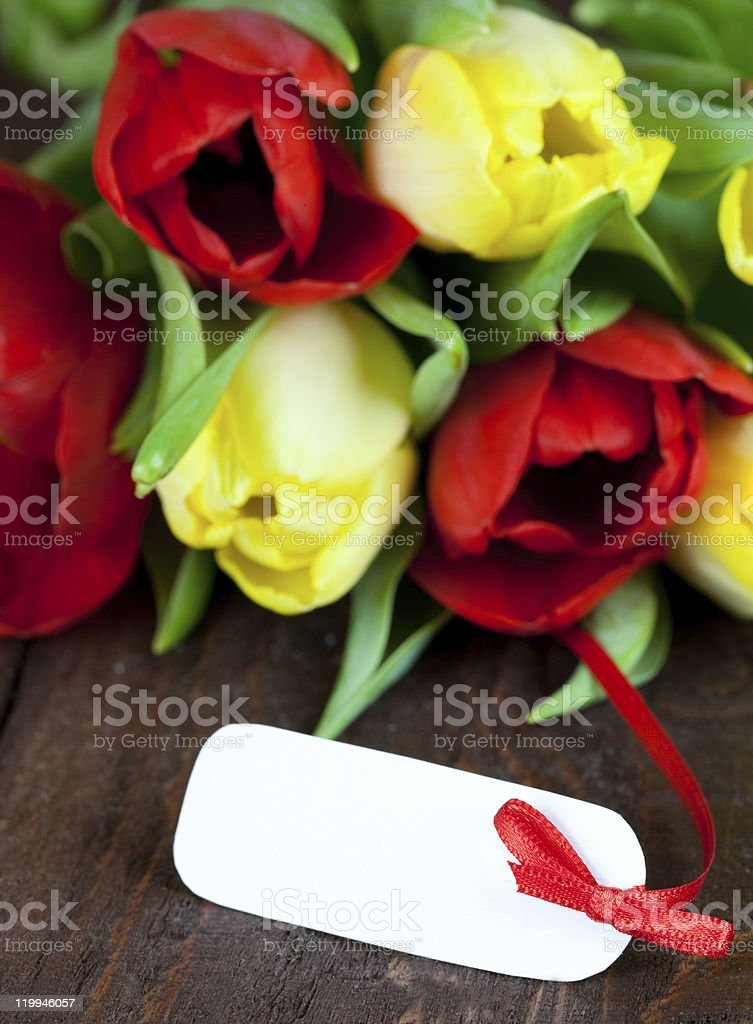 flowers with a white tag royalty-free stock photo