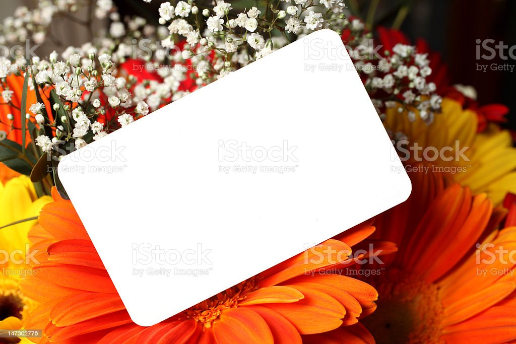 flowers with gift card royalty-free stock photo