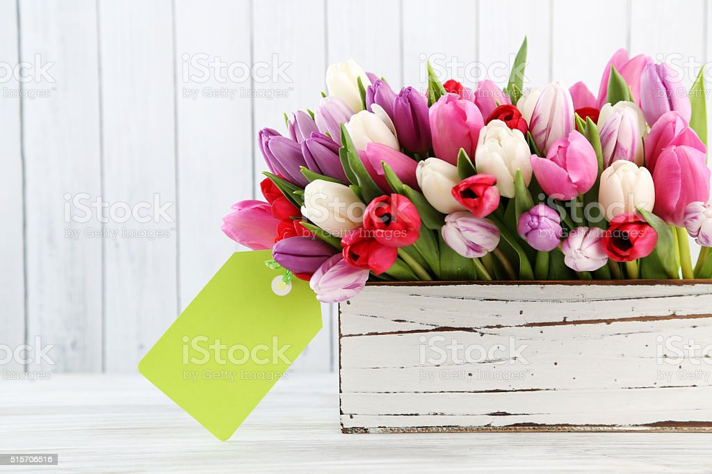 flowers with gift tag stock photo