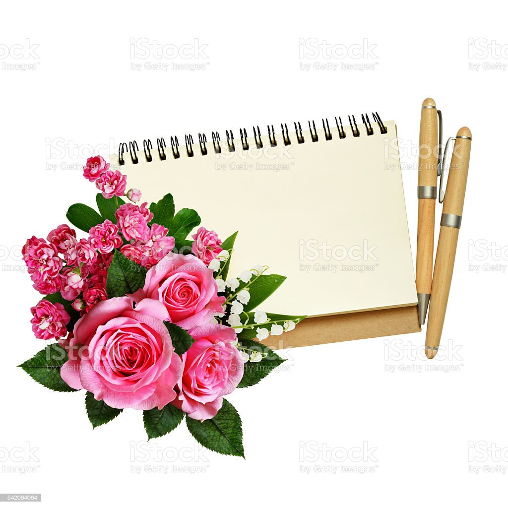 Flowers with notebook stock photo