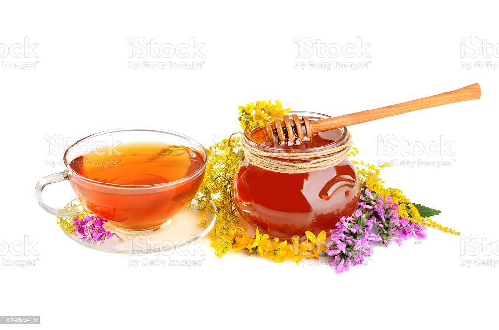 Flowers with tea and honey stock photo