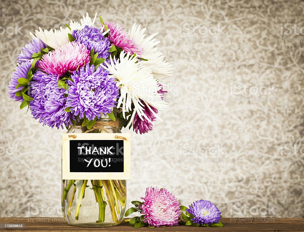 Flowers with Thank You Message stock photo