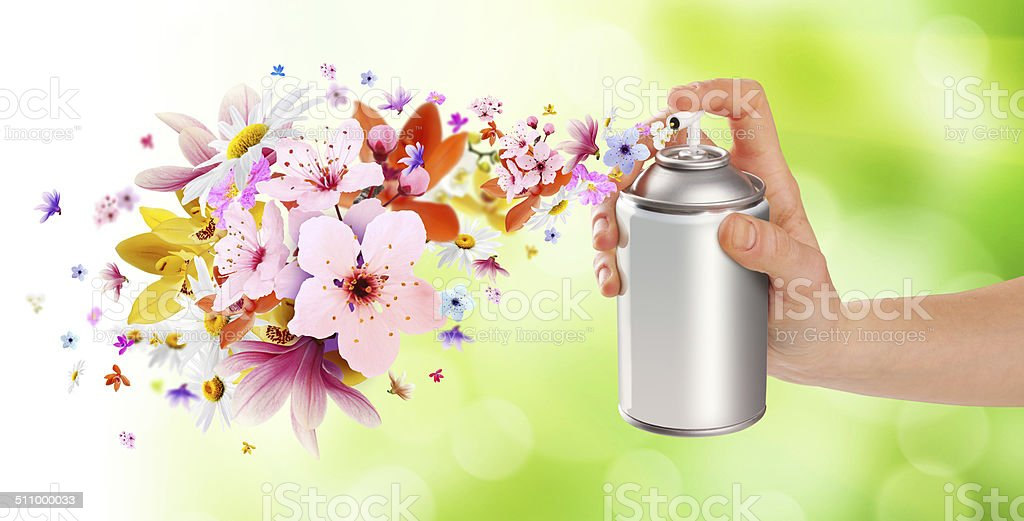 Flower-scented room sprays and flowers from inside - 2 stock photo