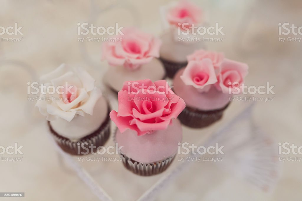 Flower-Shaped Cupcakes stock photo