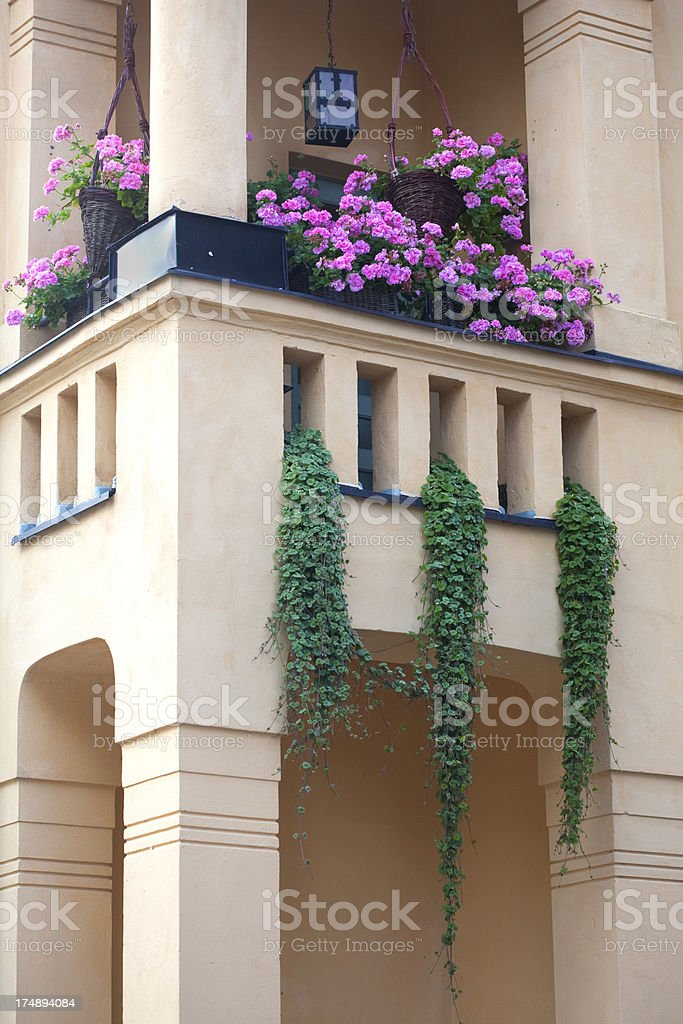 Flowery balcony stock photo