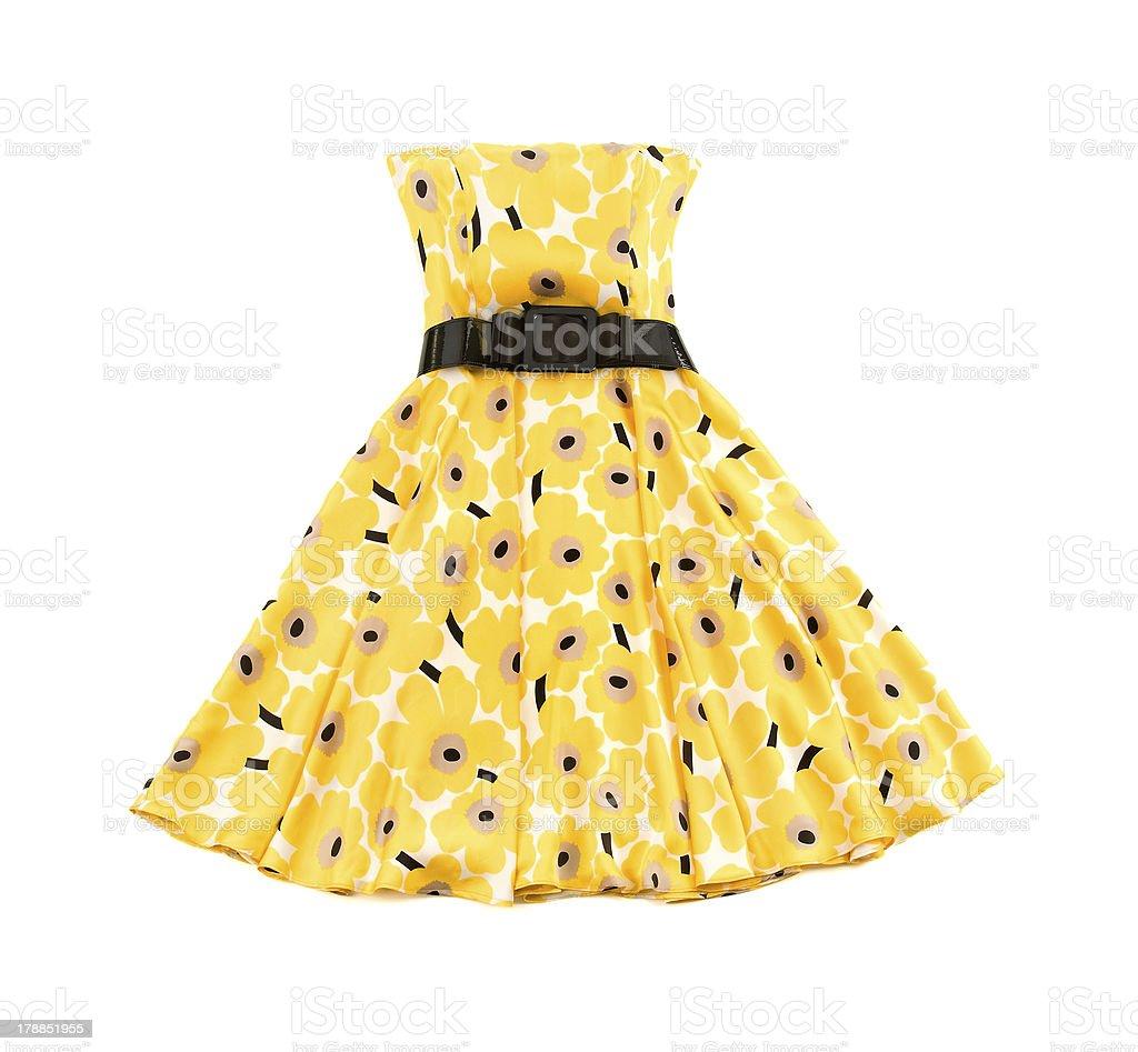 Flowery evase bateau yellow dress stock photo