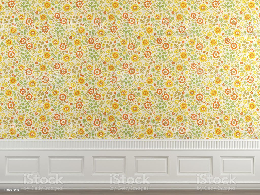flowery wallpaper wall royalty-free stock photo