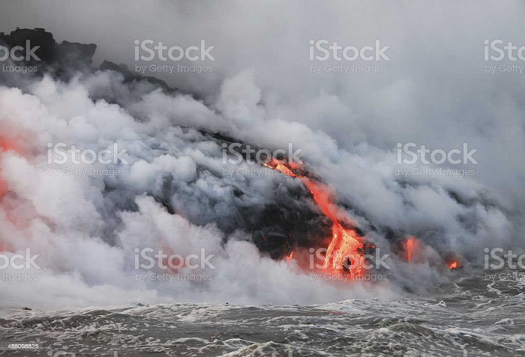 Flowing lava stock photo
