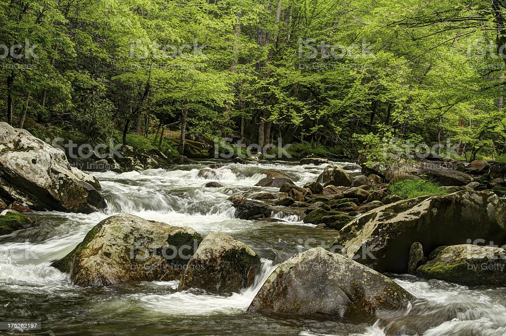 Flowing River Cascades Hard Smoky Mountains Tennessee royalty-free stock photo