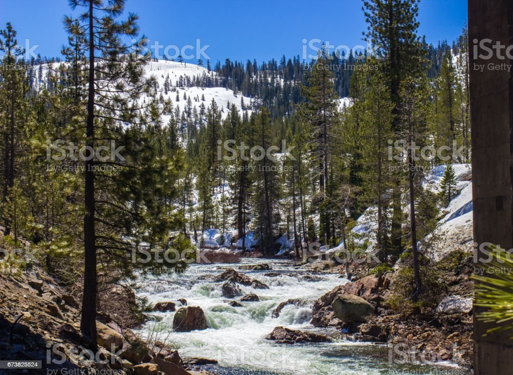 Flowing River From Snow Melting stock photo