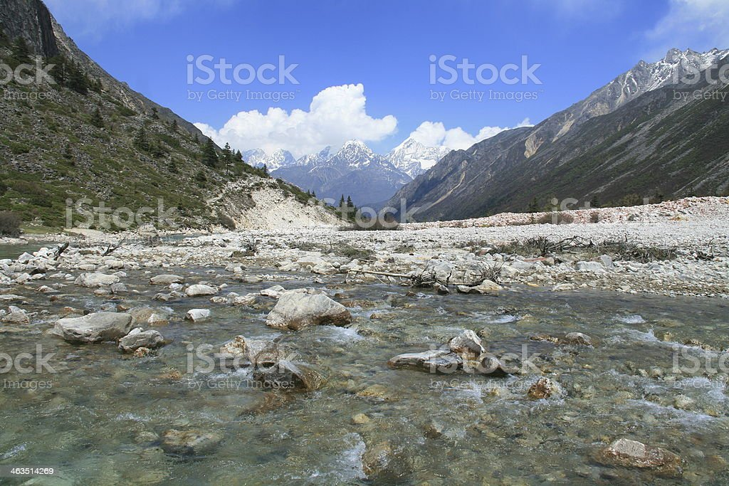 Flowing river in the Riwuqie valley, Sichuan, China stock photo