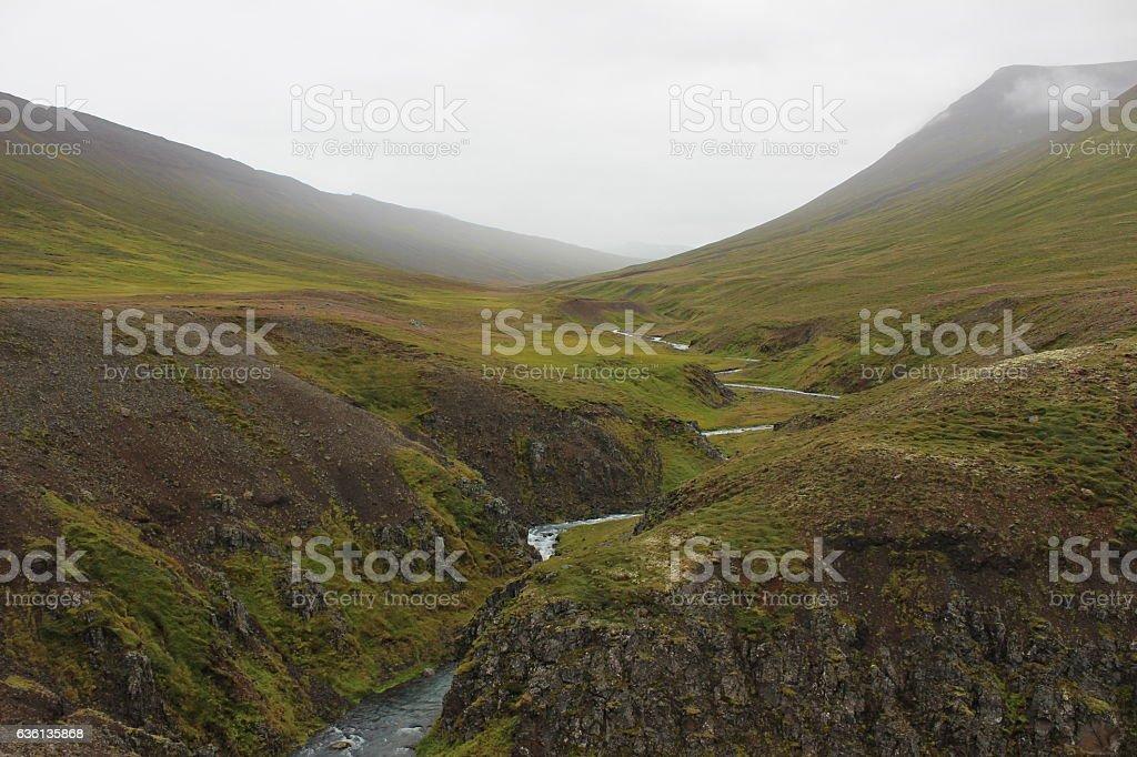 Flowing River Near Icelandic Cliffs stock photo