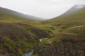 Flowing River Near Icelandic Cliffs