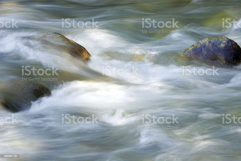 Flowing River Water Over Rocks stock photo
