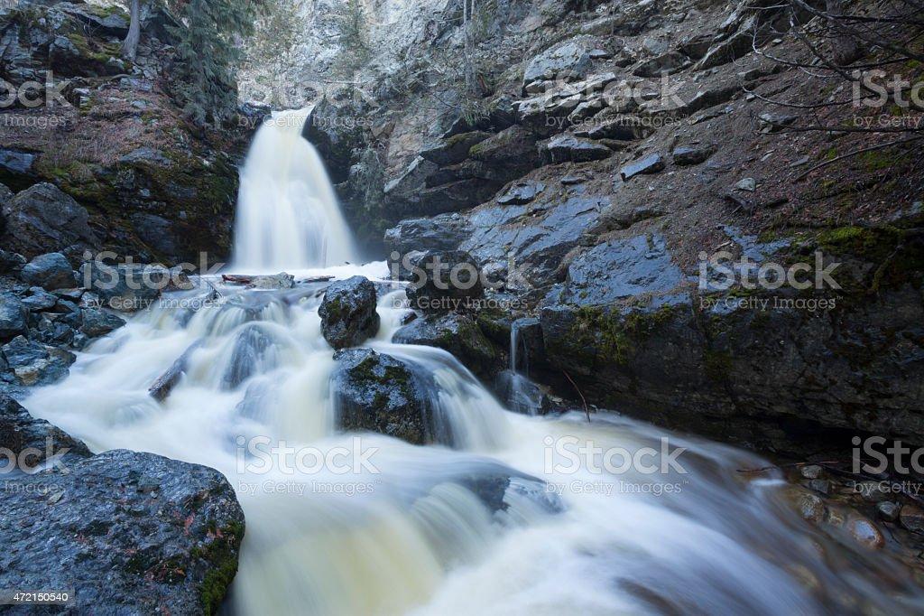 Flowing Softly Waterfall in the Okanagan Valley Kelowna British Columbia stock photo