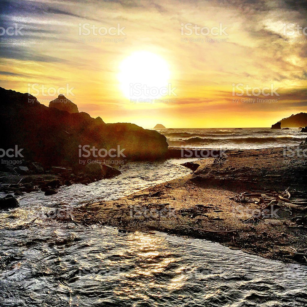 Flowing to the sea stock photo