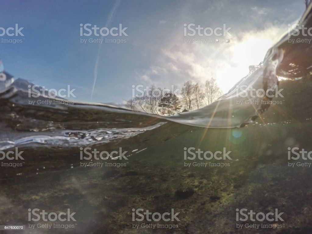 Flowing water and wave stock photo