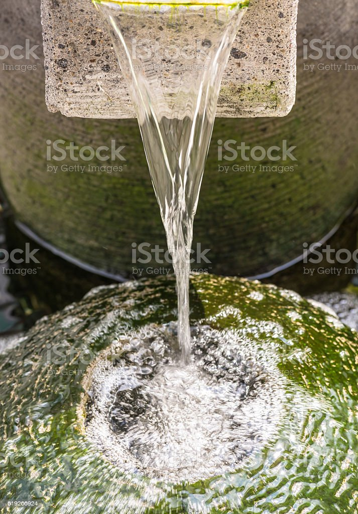 Flowing water close up stock photo