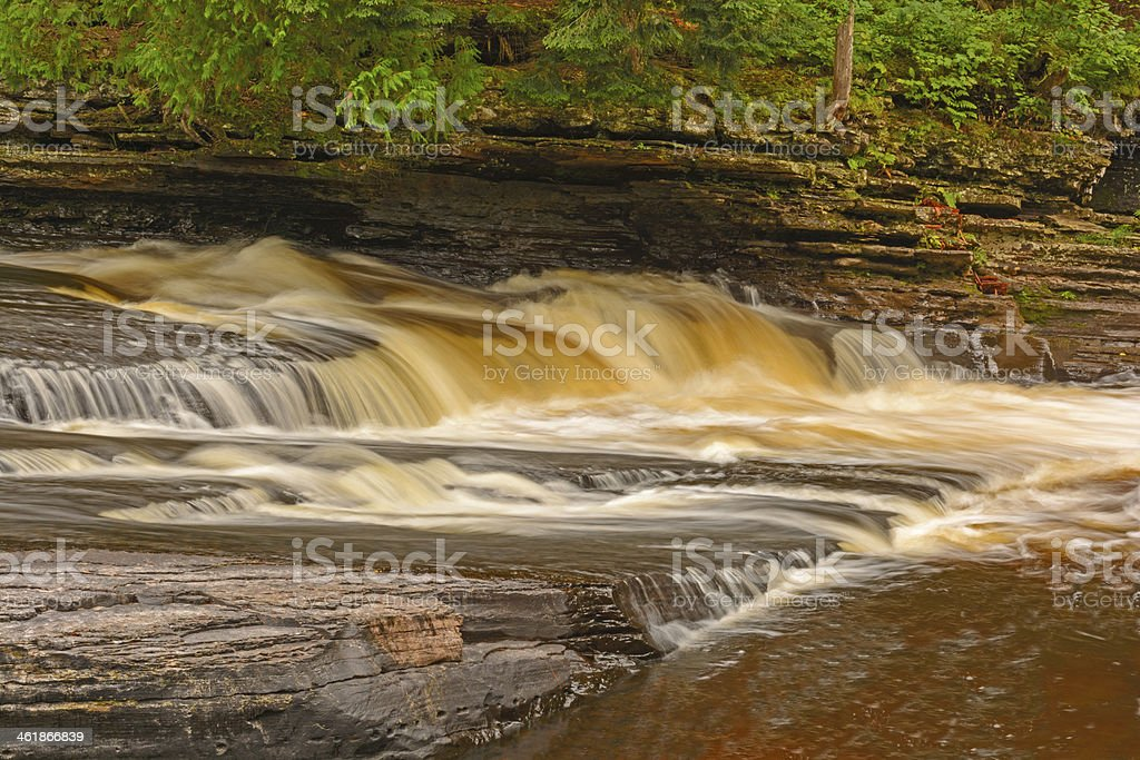 Flowing Water in a Forest River stock photo