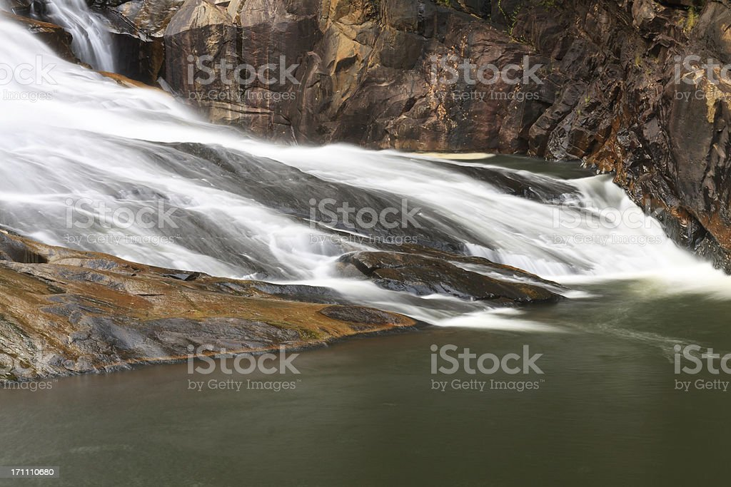 Flowing Water In Rocky Canyon stock photo
