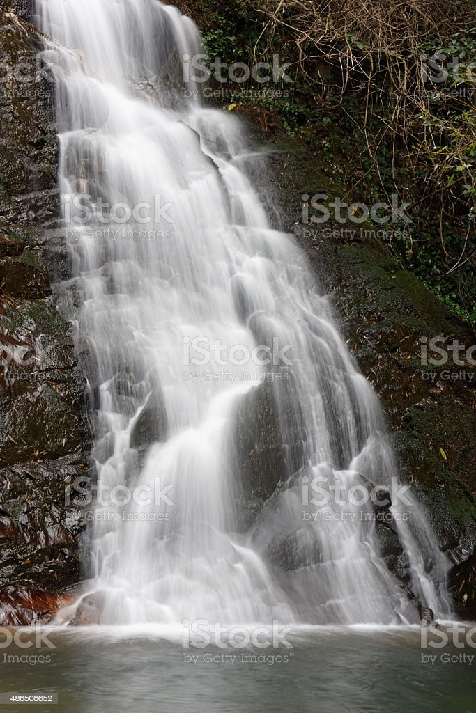 Flowing water on the cliffs stock photo