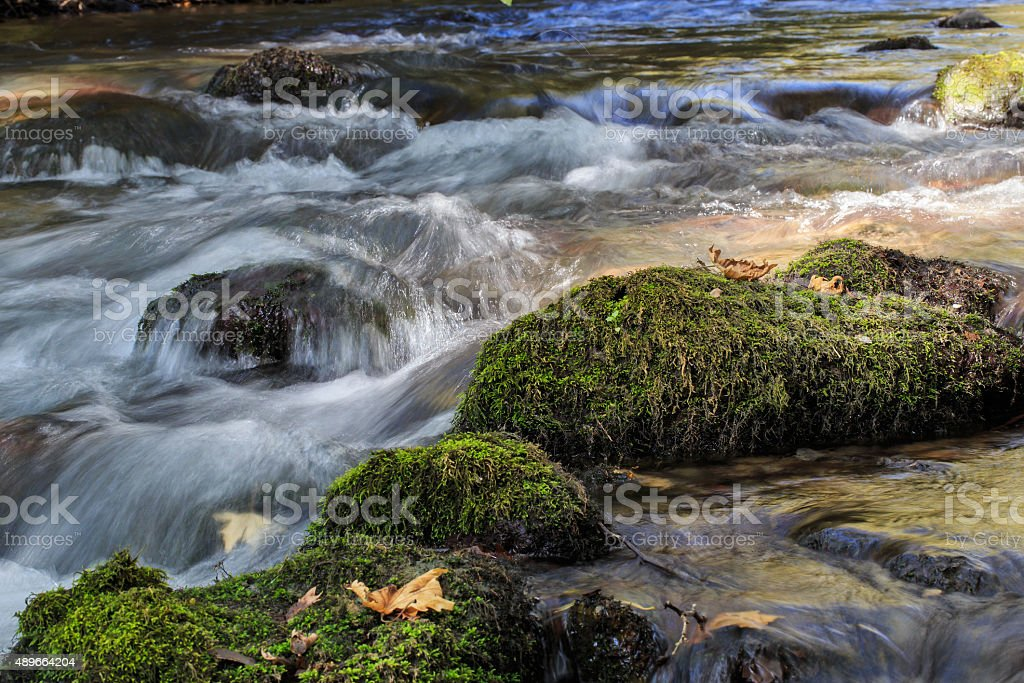 Flowing water over stones with green moss. stock photo
