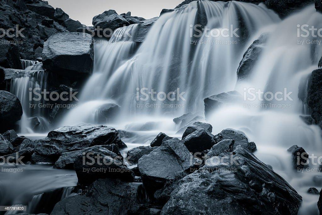 Flowing Waterfall. stock photo