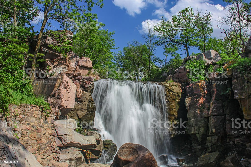 Flowing waterfall stock photo