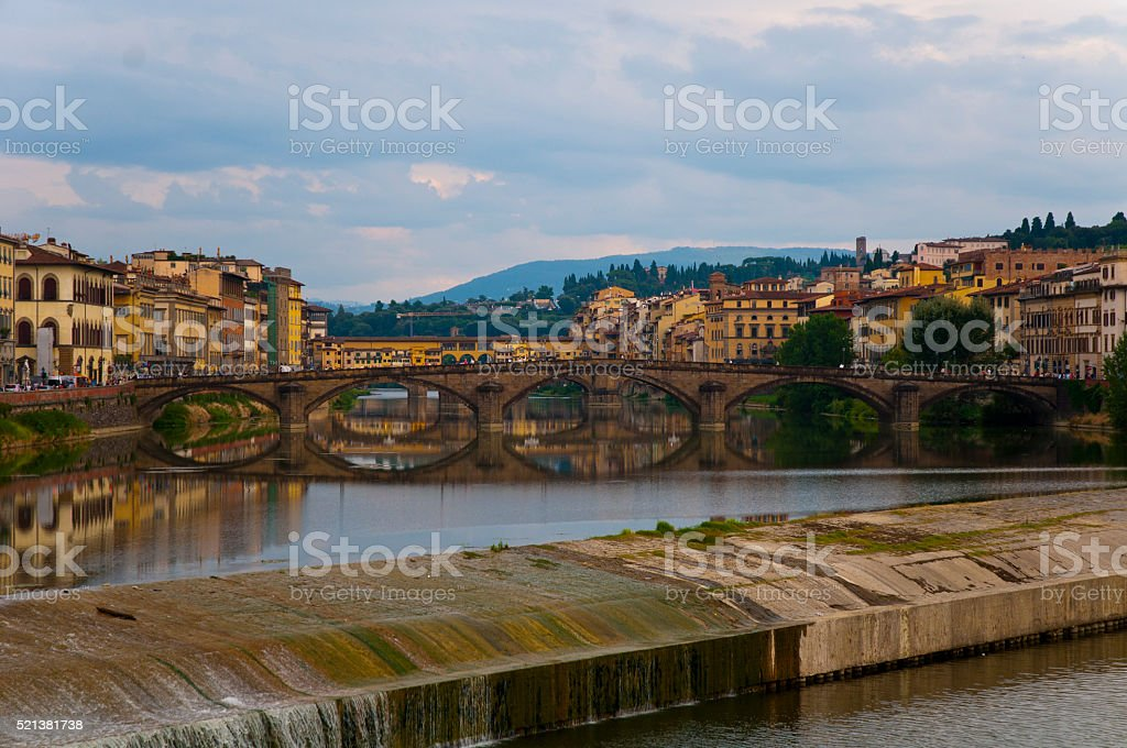 Flowing weir on the River Arno, Florence stock photo