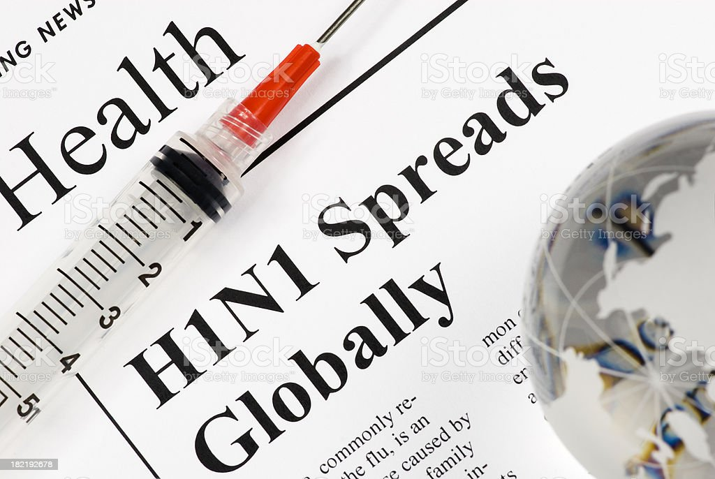 H1N1 Flu Global Threat, Health Issue (red syringe) - XII royalty-free stock photo