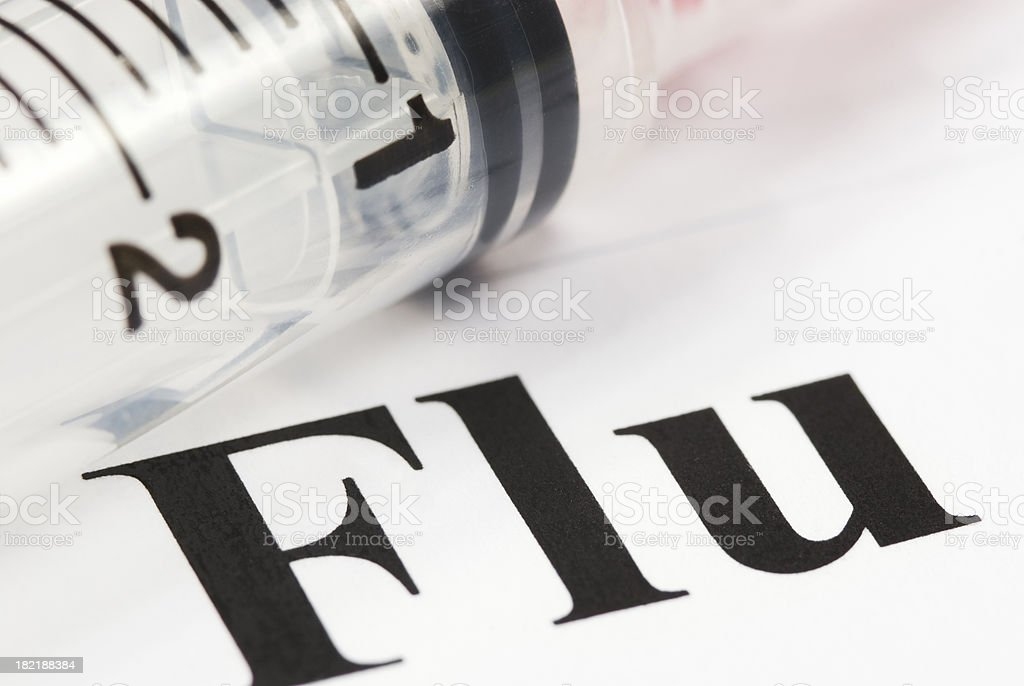 Flu health issue concept (syringe close-up) - XI royalty-free stock photo