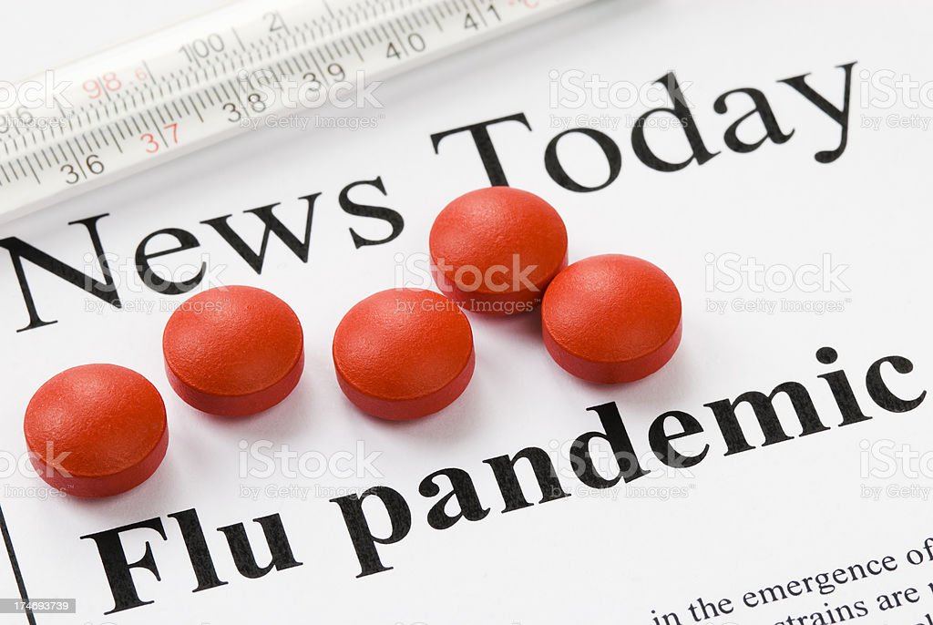Flu (influenza) pandemic headlines - III royalty-free stock photo