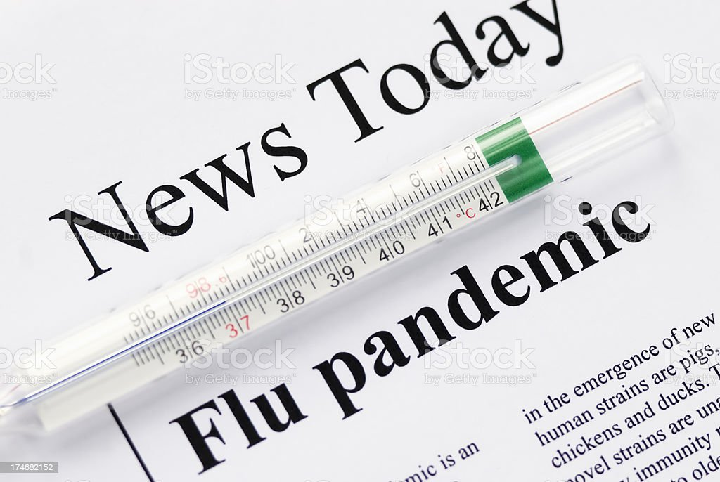 Flu (influenza) pandemic headlines - V royalty-free stock photo