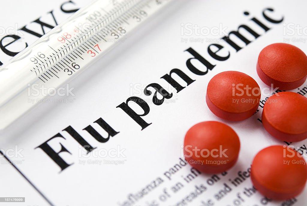 Flu (Influenza A/H1N1) pandemic headlines - VI stock photo
