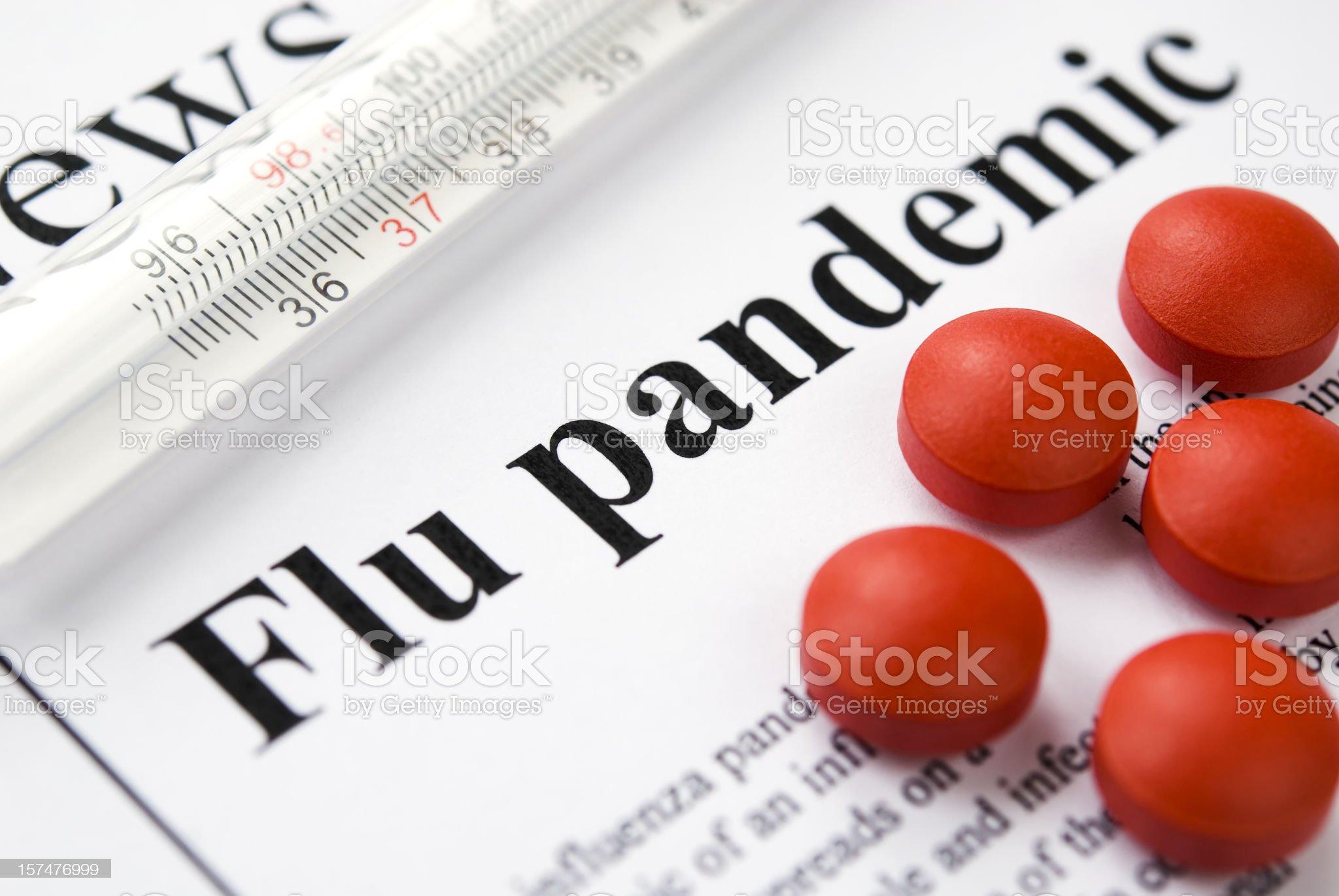 Flu (Influenza A/H1N1) pandemic headlines - VI royalty-free stock photo