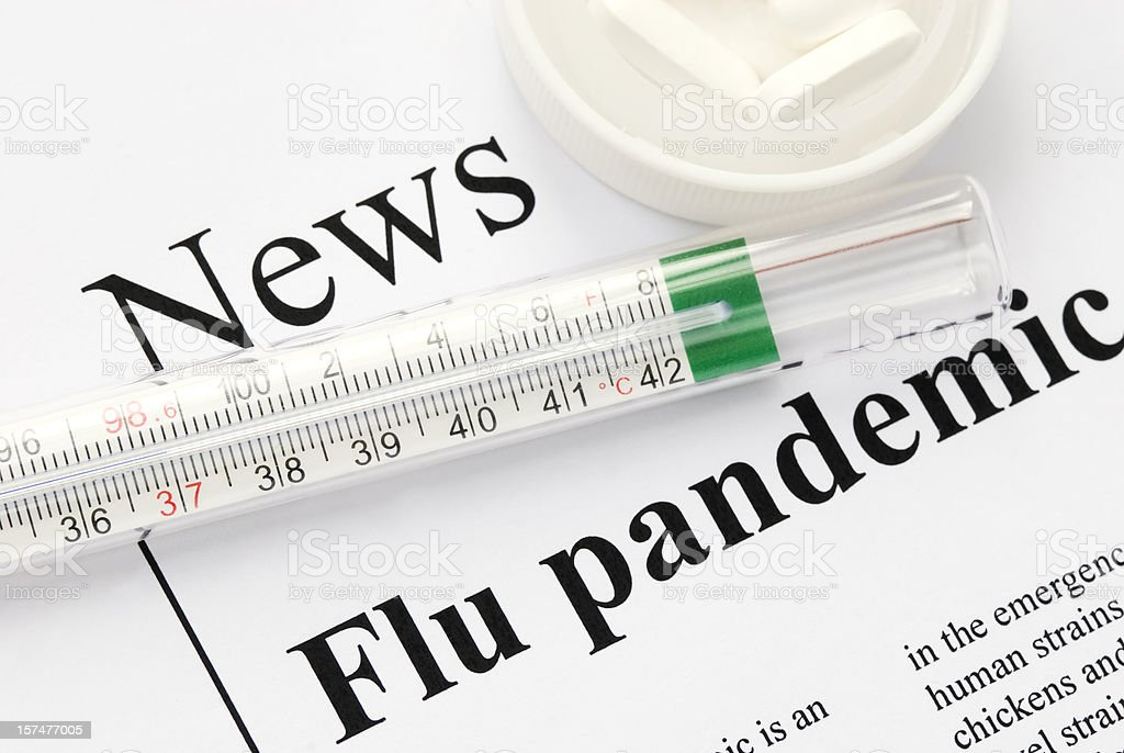 Flu (influenza) pandemic headlines - VIII royalty-free stock photo