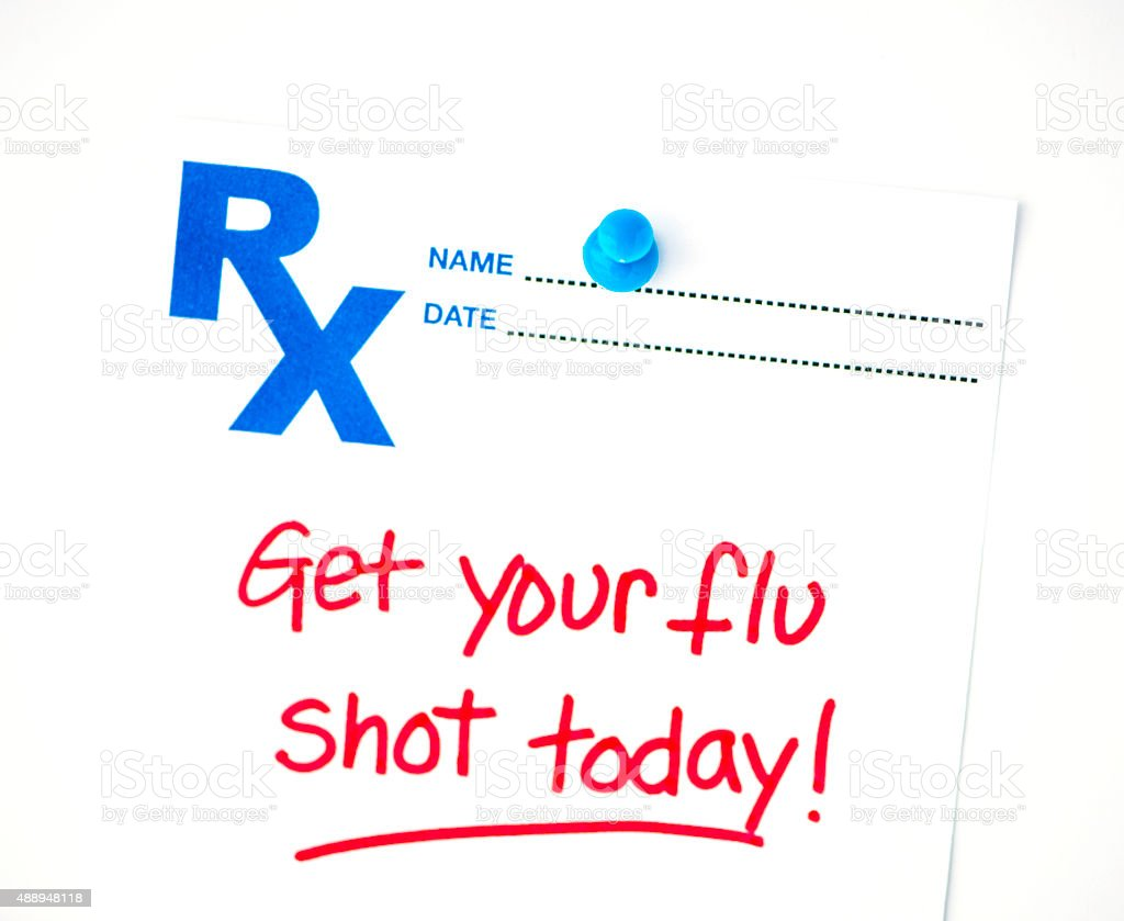 Flu shot reminder on RX prescription form stock photo
