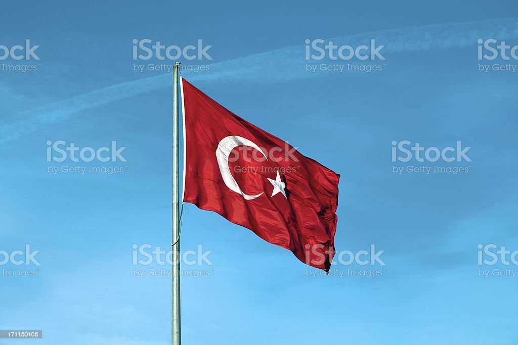Fluctuating wind, the great Turkish Flag stock photo