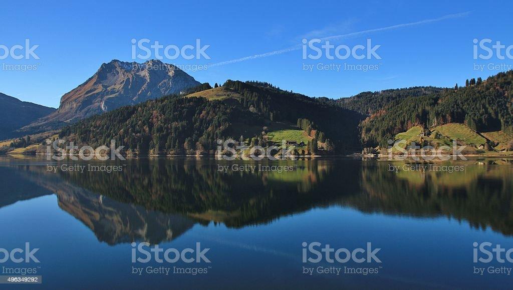 Fluebrig reflecting in lake Wagital stock photo