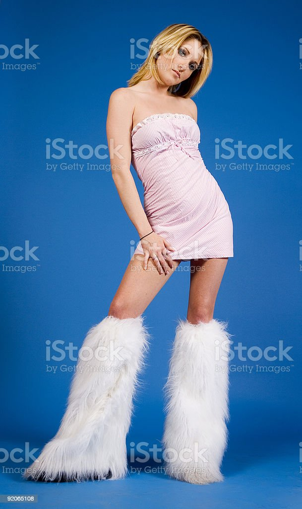 Fluffy boots royalty-free stock photo