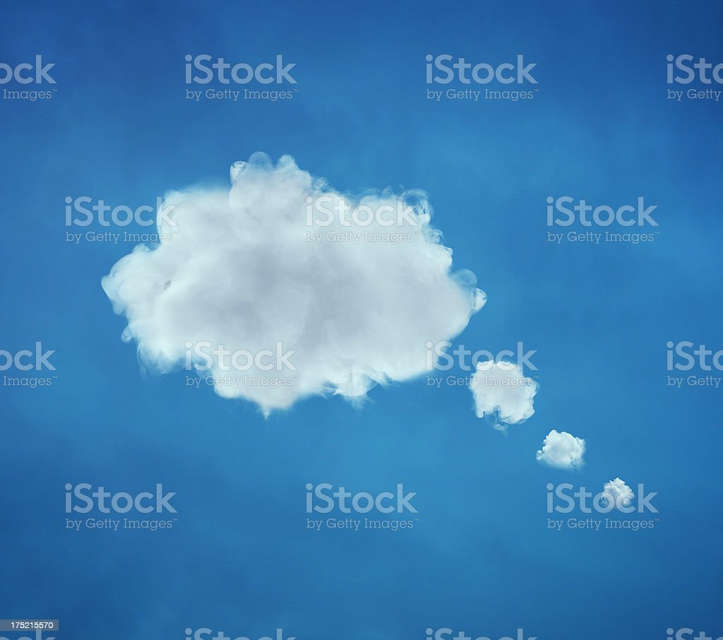 Fluffy clouds like think bubble stock photo