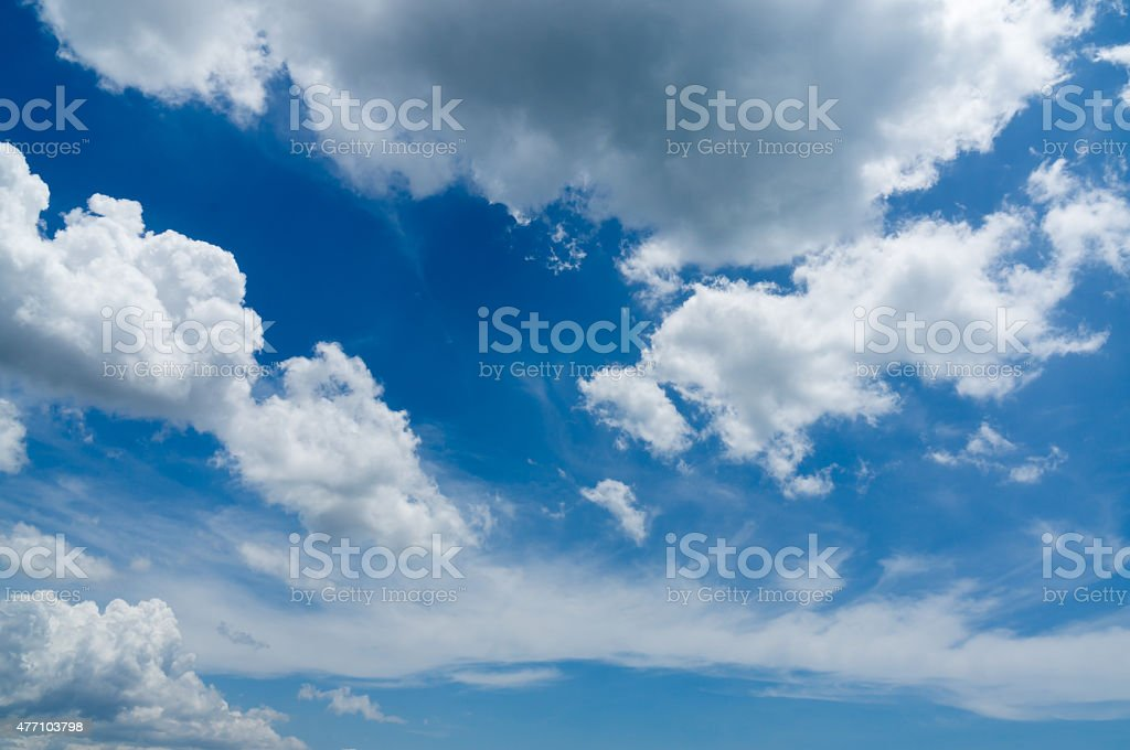 Fluffy clouds on the blue sky stock photo